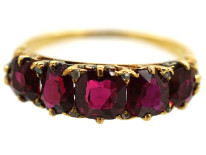 Victorian Carved Half Hoop 18ct Gold Five Stone Ruby Ring