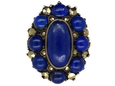 Art Deco Lapis Lazuli & Marcasite Oval Silver Ring