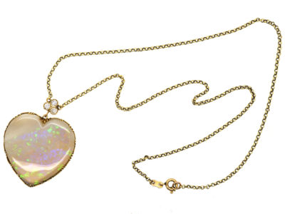 Edwardian Large Opal Heart Pendant with Diamond Top on 15ct Gold Chain