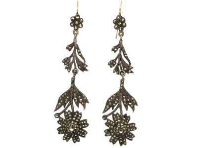 Edwardian Long Drop Silver & Marcasite Flower Earrings