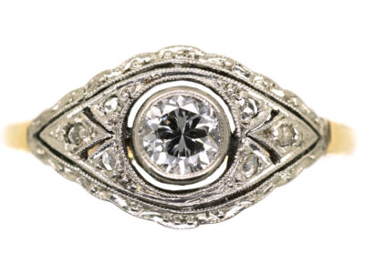 Art Deco 18ct Gold, & Platinum Diamond Ring