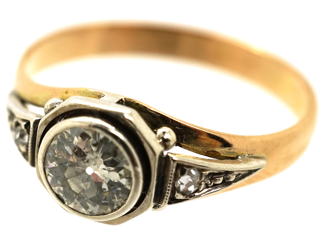 Art Deco Diamond Solitaire Ring With Rose Diamond Shoulders