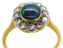 Edwardian 18ct & Platinum, Black Opal & Diamond Oval Ring