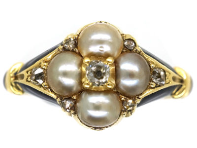 Regency 18ct Gold Blue Enamel, Diamond & Pearl Cluster Ring