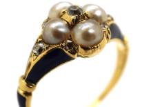 Regency 18ct Gold Blue Enamel, Diamond & Pearl Cluster Ring