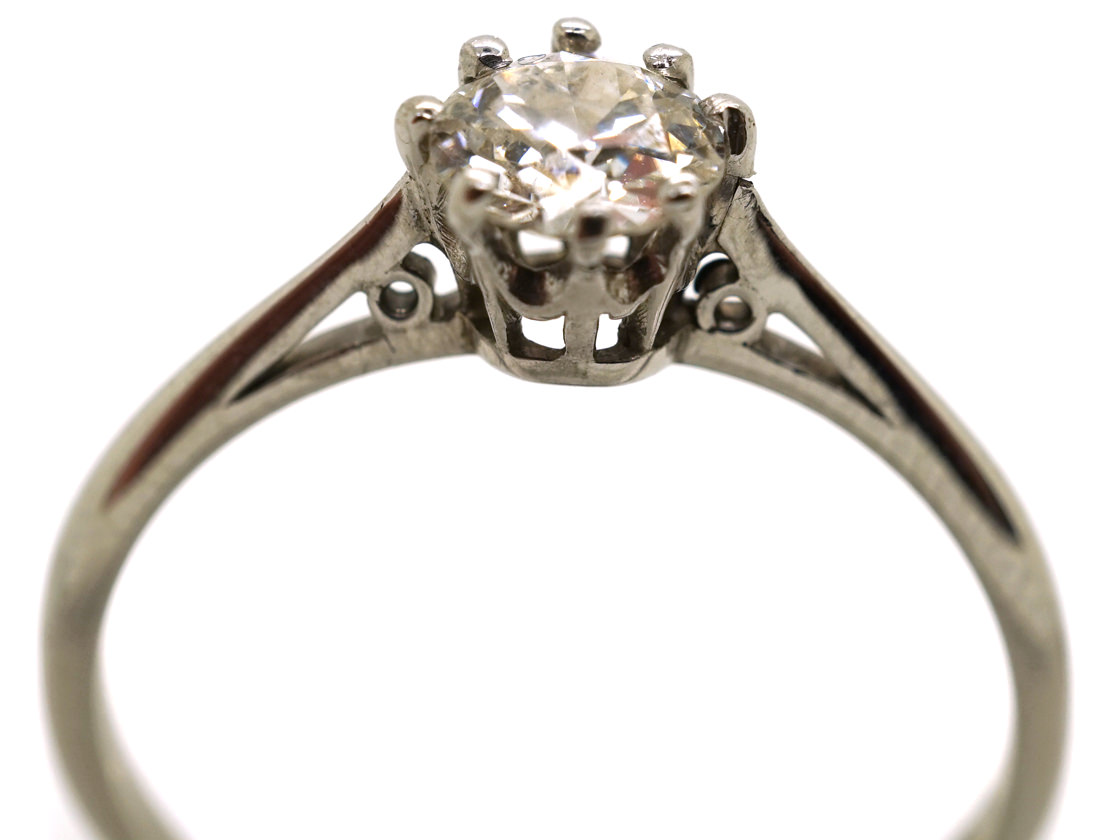18ct White Gold & Platinum, Half Carat Diamond Solitaire Ring