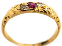 Edwardian 18ct Gold, Diamond & Ruby Twist Ring