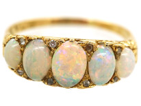 Victorian 18ct Gold, Five Stone Opal & Diamond Carved Half Hoop Ring