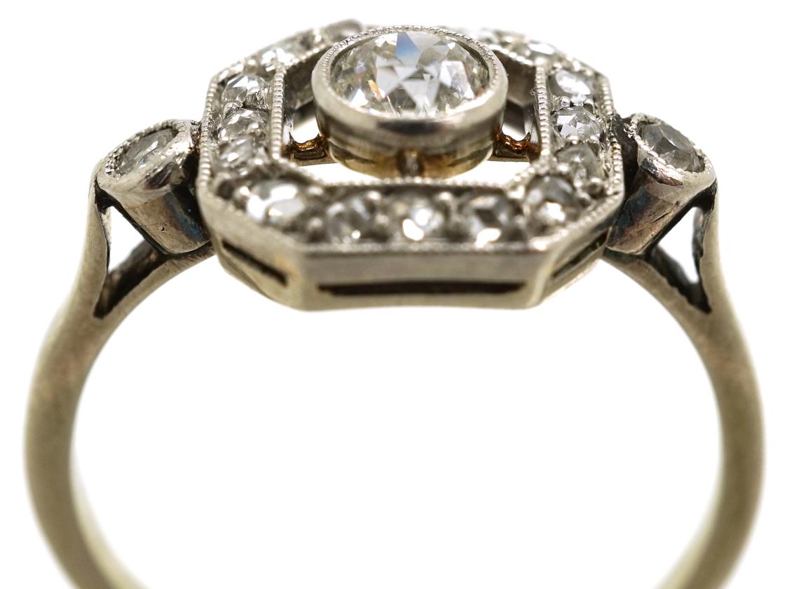 Art Deco 18ct Gold, Platinum, & Diamond Octagonal Ring
