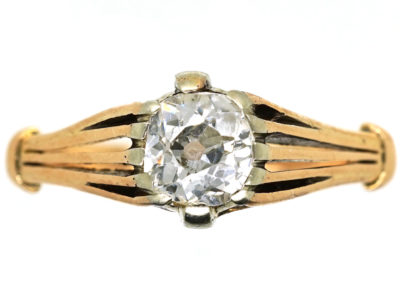 Art Deco 18ct Gold Diamond Solitaire Ring With Pierced Shoulders