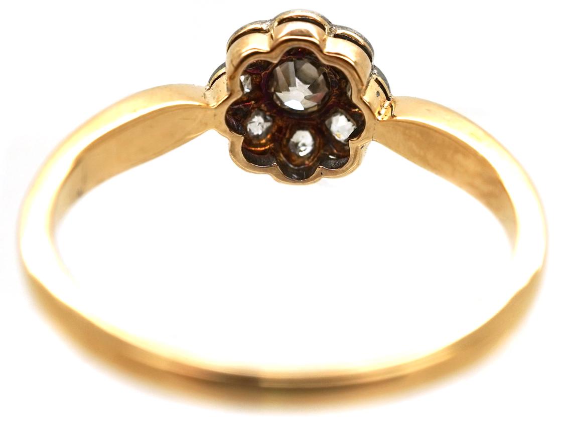 Edwardian 18ct Gold, Platinum &ampDiamond Set Daisy Ring