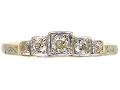 Art Deco 18ct Gold & Platinum Five Stone Diamond Step Cut Ring