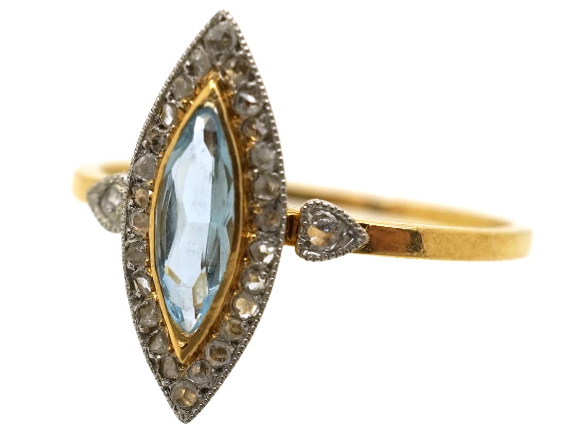 Edwardian 18ct Gold, Platinum, Aquamarine & Rose Diamond Marquise Ring