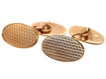 9ct Gold Oval Engine Turned Cufflinks