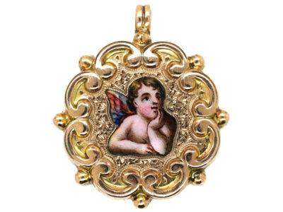 Edwardian 15ct Gold & Enamel Cherub Pendant