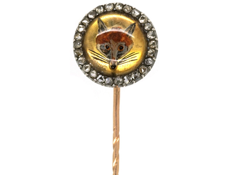 Victorian Fox Head Reverse Intaglio Rock Crystal & Rose Diamond Tie Pin