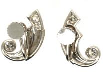 Art Deco 18ct White Gold & Diamond Earrings