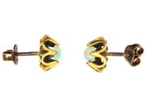 Retro 18ct Gold & Opal Stud Earrings