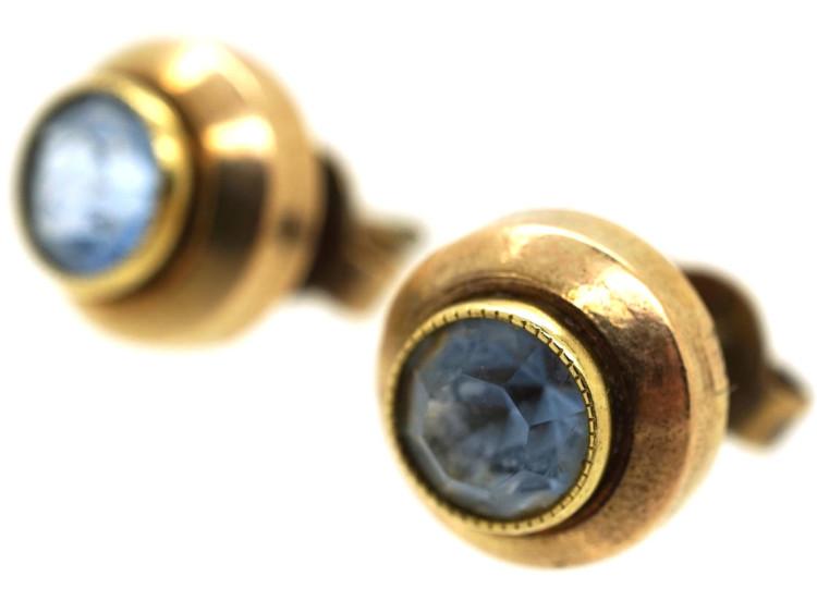 14ct Gold & Aquamarine Stud Earrings