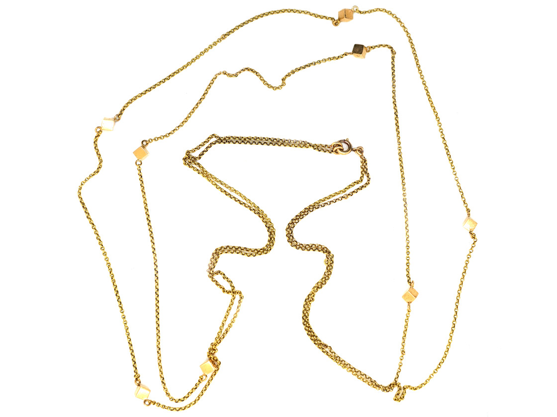 18ct Gold Double Chain With Cube Design
