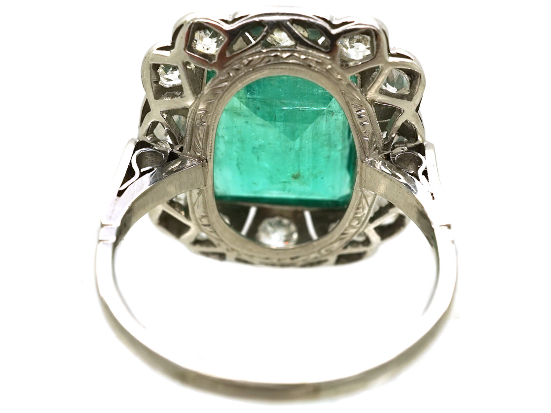 Art Deco Platinum Large Emerald & Diamond Ring
