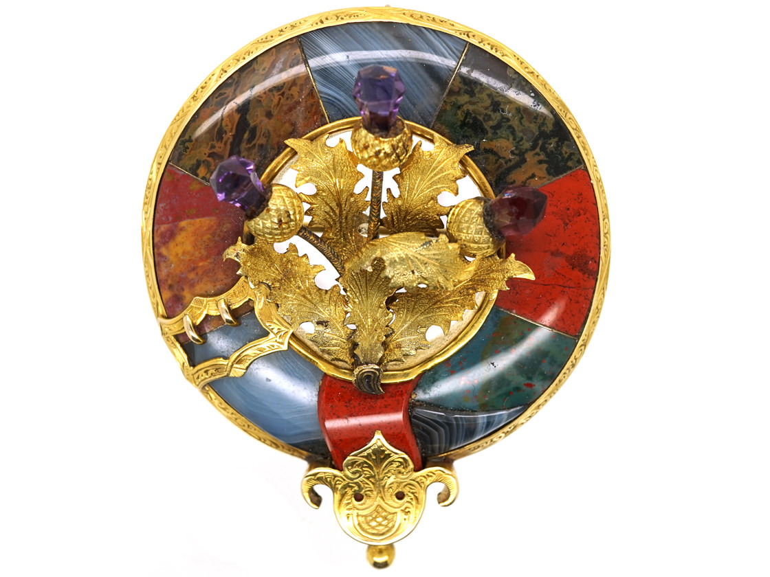 Victorian 15ct Gold Scottish Garter & Thistle Brooch Set With Jasper, Bloodstone & Amethysts