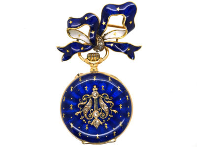 Edwardian 18ct Gold, Enamel & Rose Diamond Pocket Watch With Matching Bow Brooch