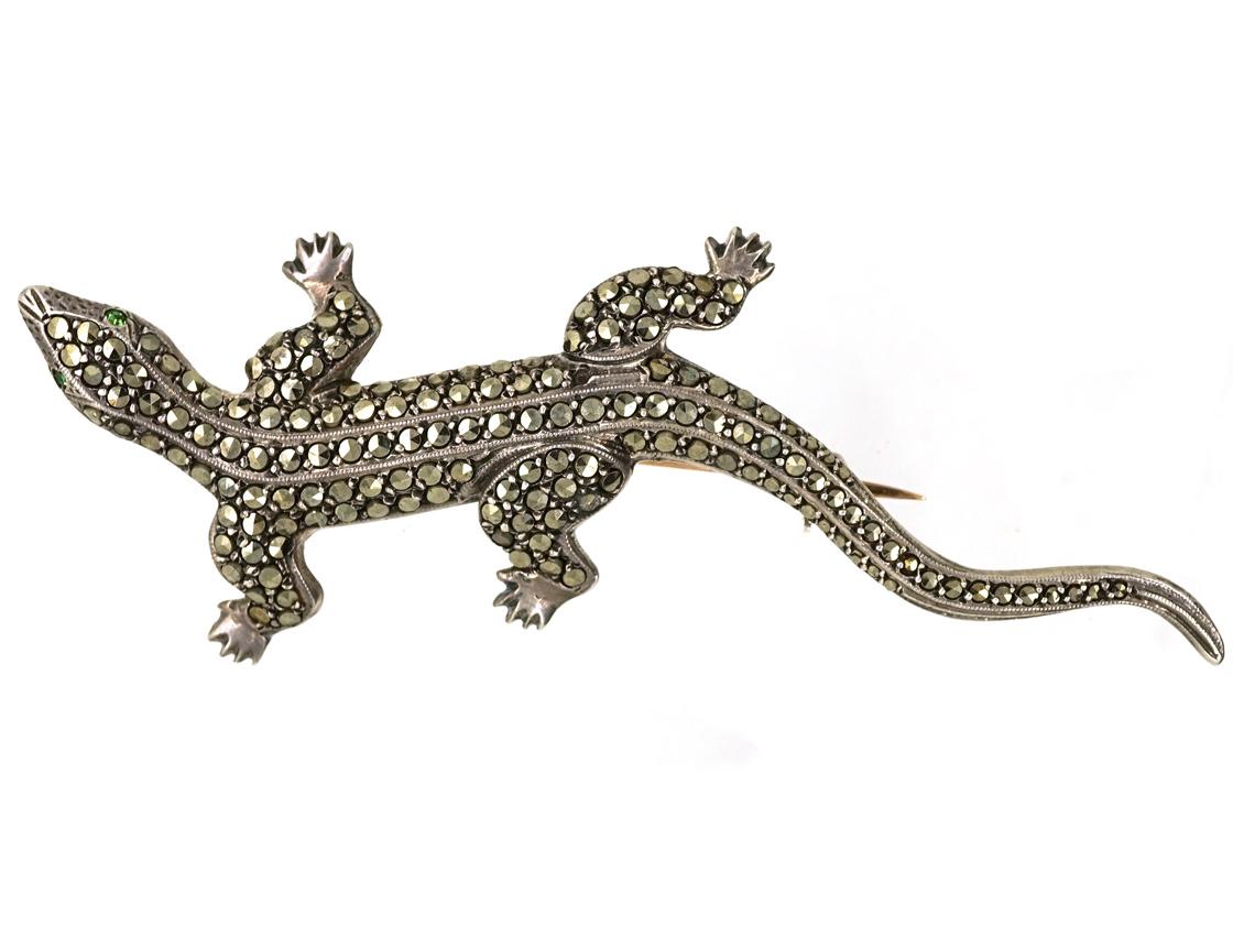 Silver & Marcasite Lizard Brooch