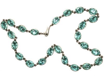 Georgian Silver & Blue Paste Necklace
