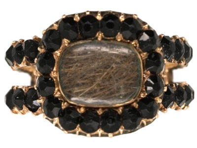 Georgian Gold & Vauxhall Glass Mourning Ring