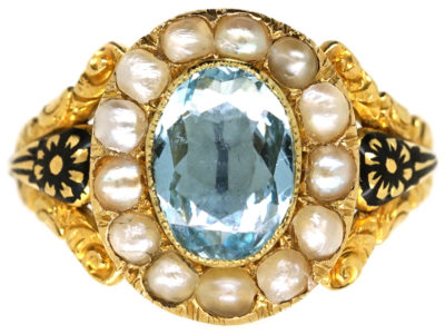 Victorian Gold, Enamel, Aquamarine & Natural Split Pearl Cluster Mourning Ring