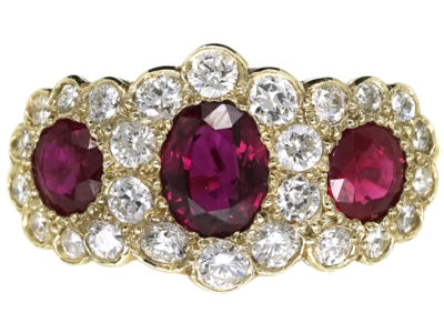 Edwardian 18ct Gold Ruby & Diamond Triple Cluster Ring