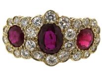 Edwardian 18ct Gold Ruby & Diamond Triple Cluster Ring