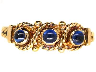Edwardian 15ct Gold & Three Cabochon Sapphire Ring
