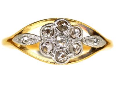 Edwardian 18ct Gold, Platinum & Rose Diamond Cluster Ring