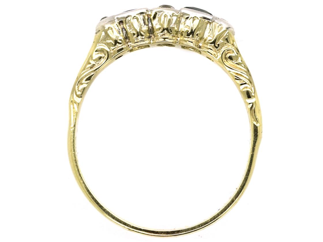 Art Deco 14ct Gold Sapphire & Diamond Five Stone Ring