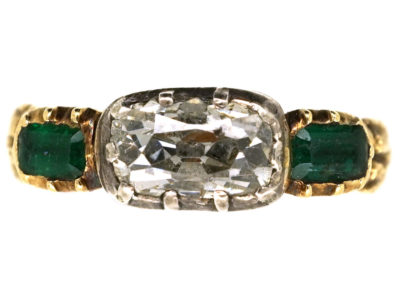 Georgian 18ct Gold, Diamond & Emerald Ring