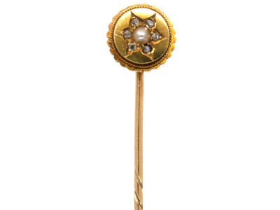 Edwardian 15ct Gold, Natural Pearl & Rose Diamond Tie Pin