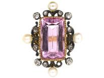 Edwardian 15ct Gold, Pink Topaz, Diamond & Natural Split Pearl Ring