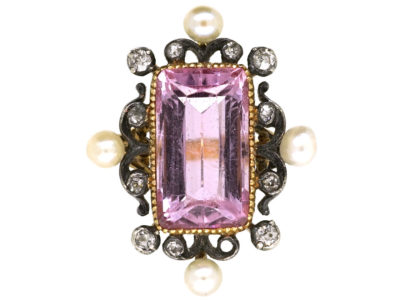 Edwardian 15ct Gold, Pink Tourmaline, Diamond  & Natural Split Pearl Ring
