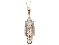 Art Deco 14ct White Gold Pendant Set With Diamonds on a Silver Chain