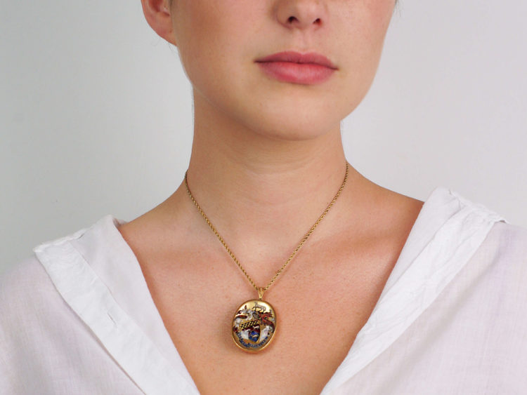18ct Gold Rock Crystal Reverse Intaglio Coat of Arms Pendant