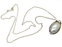 Art Deco Silver & Blister Pearl Pendant on a Silver Chain