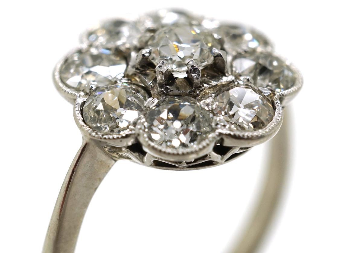 Edwardian 18ct White Gold Diamond Daisy Cluster Ring
