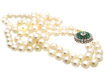 Cultured Pearl Double Strand Necklace With Emerald & Diamond Clasp