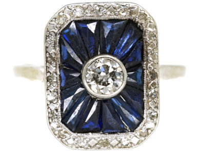 Art Deco 18ct White Gold, Diamond & Synthetic Sapphire Rectangular Ring