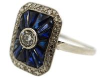 Art Deco 18ct White Gold, Diamond & Synthetic Sapphire Rectangular Ring