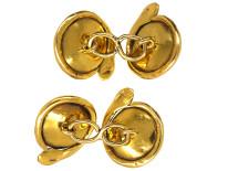 Victorian 18ct Gold Cabochon Garnet & Diamond Cufflinks With Snake Border