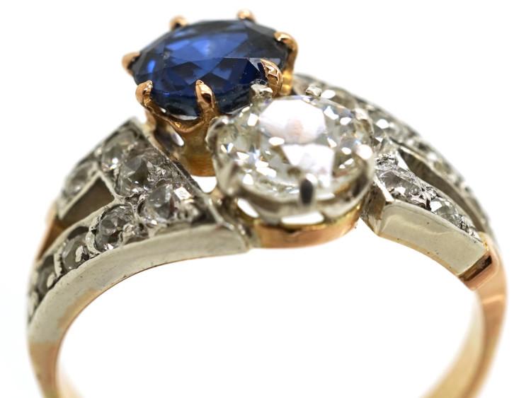 Art Deco 18ct Gold & Platinum, Sapphire& Diamond Two Stone Ring