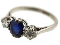 Platinum, Diamond & Sapphire Three Stone Ring